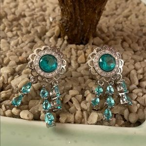Virginia 925 aquamarine and CZ earring